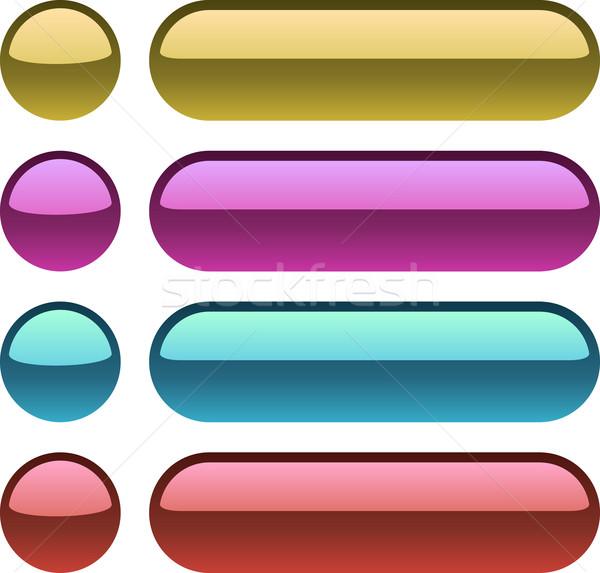 цвета металлический Кнопки веб-дизайна свет мяча Сток-фото © lenapix