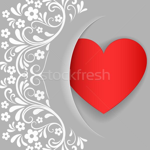 Szürke valentin nap kártya piros szív alak fehér Stock fotó © lenapix