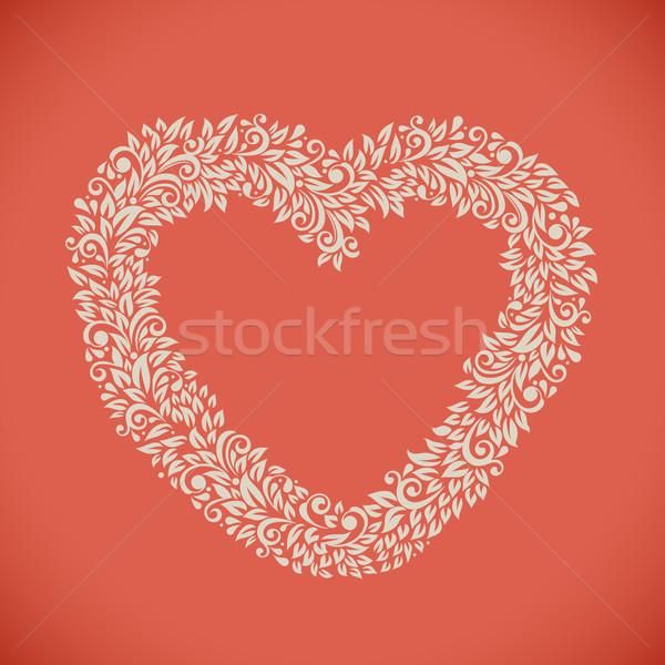 сердце цветочный кадр карт Сток-фото © lenapix