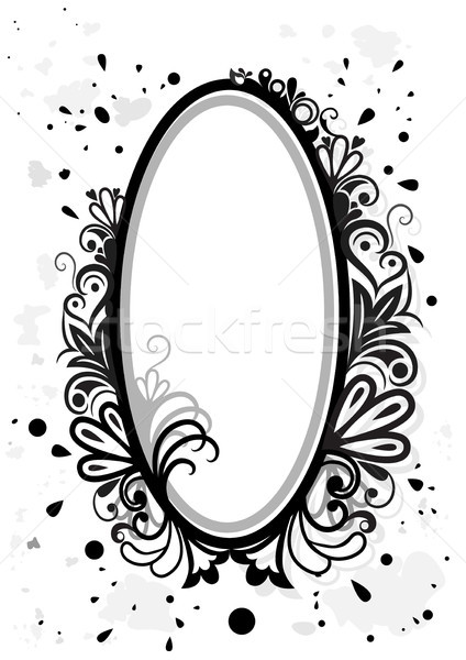 Black and white floral frame with paint splashes. Stock photo © lenapix