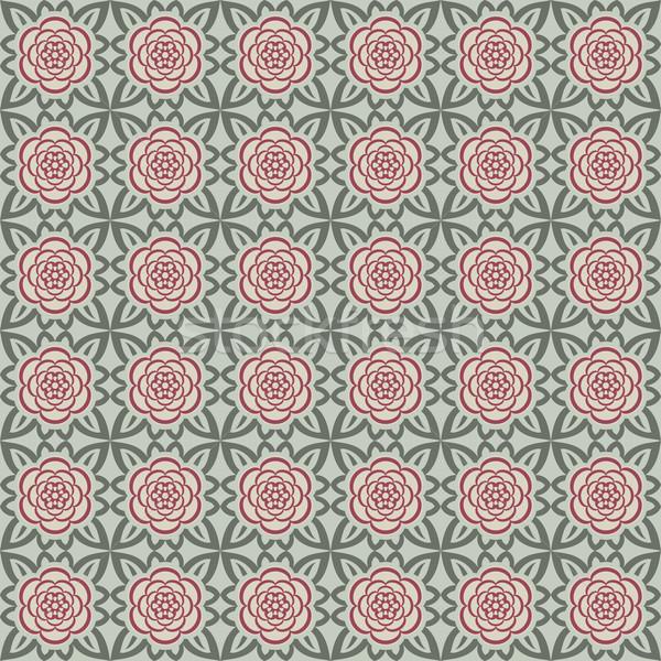 Stockfoto: Abstract · beige · bloem · vector · patroon · textuur