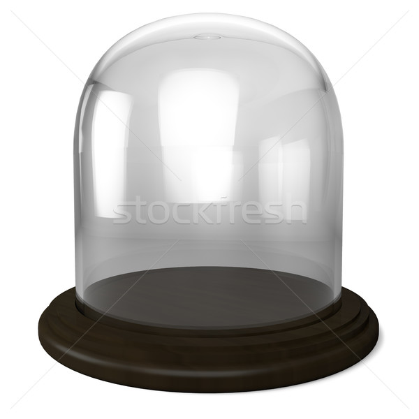 Stock photo: Empty glass dome with wooden base