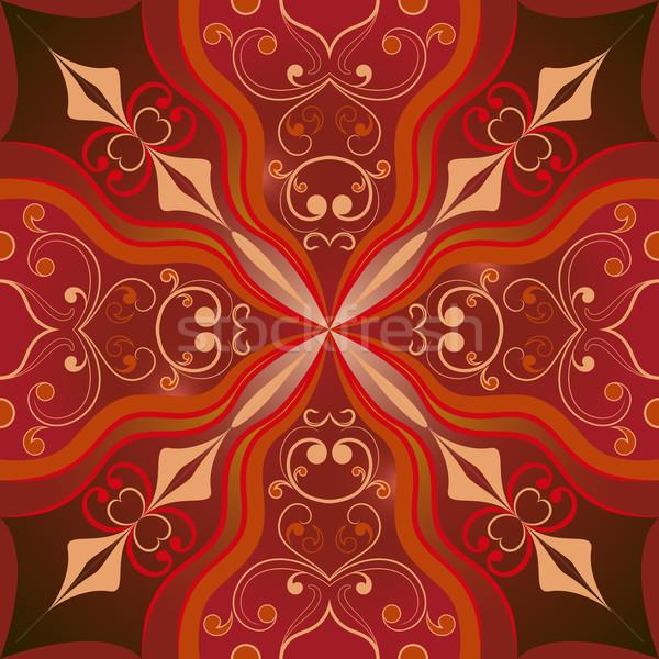 シームレス ベクトル ブラウン オリエンタル 対称の 飾り ストックフォト © lenapix