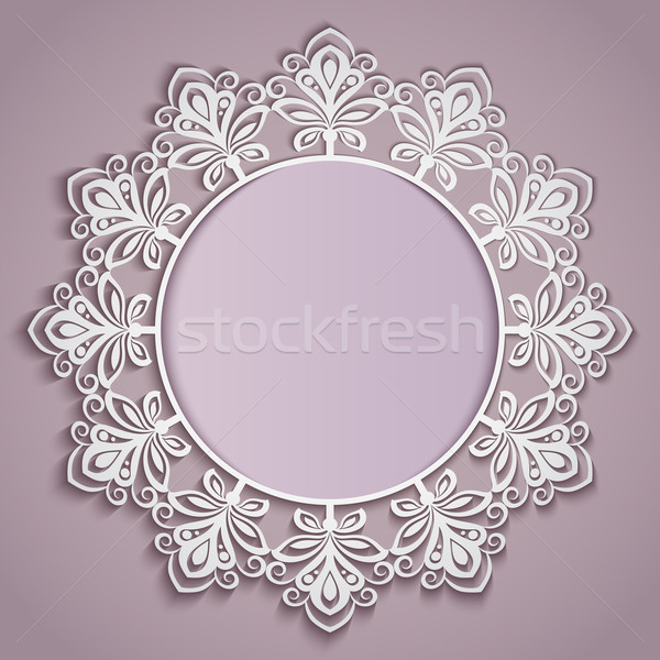 Stock photo: Abstract paper flower round frame vector template.