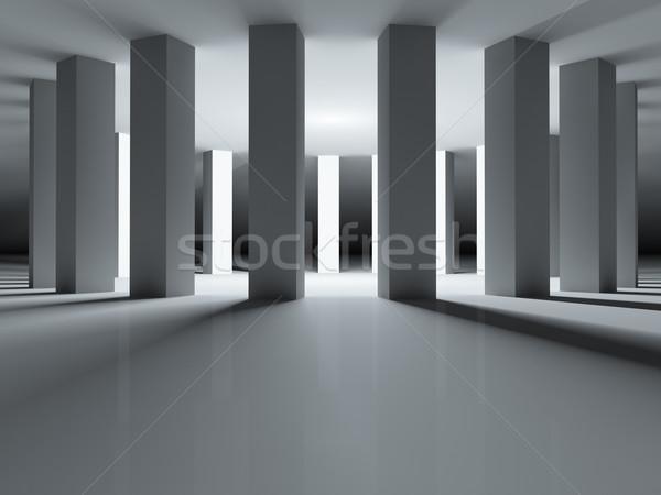 Round colonnade illuminated inside. Stock photo © lenapix
