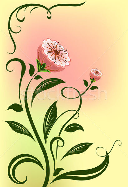 Abstract vector flower isolated on color background.  Stock photo © lenapix