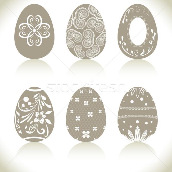 Abstrato páscoa ovos branco fundo primavera Foto stock © lenapix