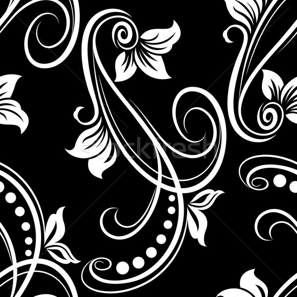 Seamless black and white flower vector pattern. Stock photo © lenapix