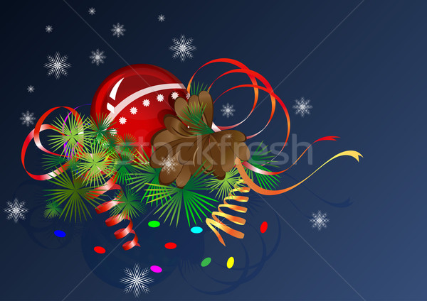 Christmas vector composition with cone and streamers. Stock photo © lenapix