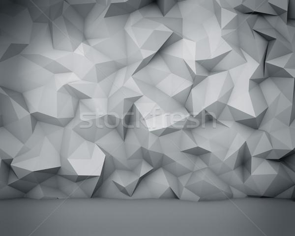 Resumen blanco polígono pared luz arte Foto stock © lenapix