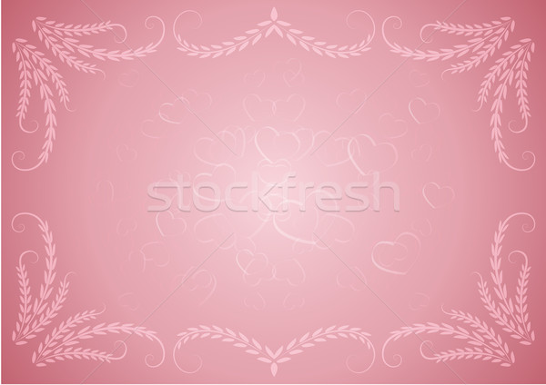 Pink Valentine background with floral frame. Stock photo © lenapix