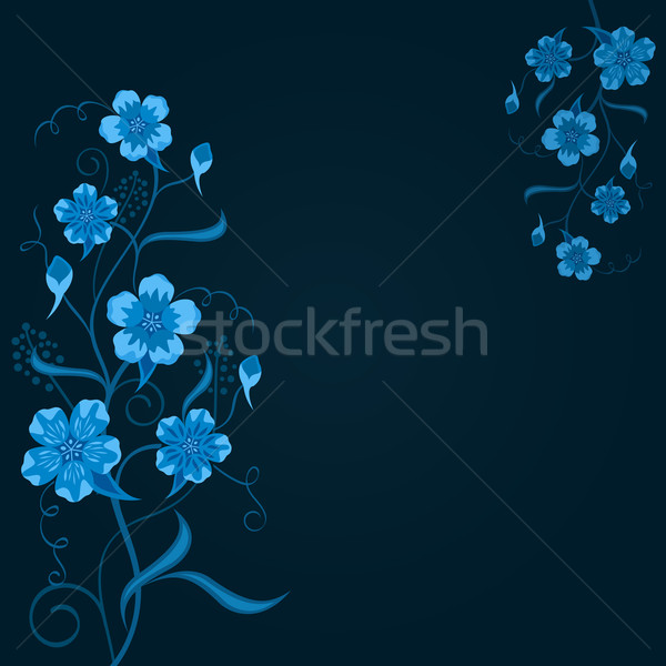 Dark blue floral vector background with copy space. Stock photo © lenapix