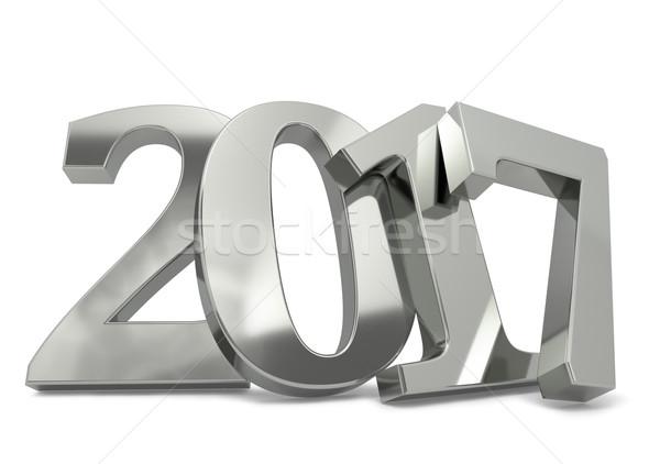 Nuovo anno argento muro ombra isolato Foto d'archivio © lenapix