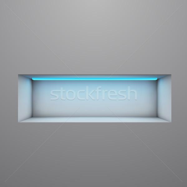 Exposition shelf illuminated with neon light vector illustration Stock photo © lenapix
