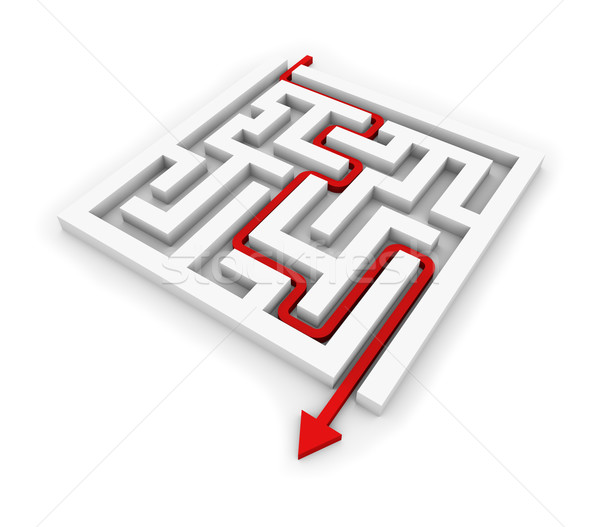Red arrow going through the maze. Conceptual illustration. Stock photo © lenapix