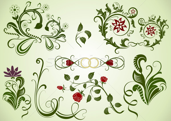 Stock photo: Green vector swirly floral design elements.