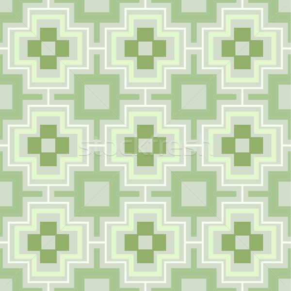Zöld végtelenített mértani vektor tapéta minta Stock fotó © lenapix