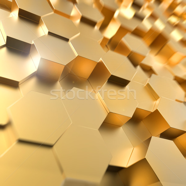 Abstract 3D gold hexagon 3D background. Stock photo © lenapix