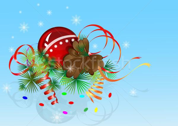 Рождества голубой фон синий лента Сток-фото © lenapix