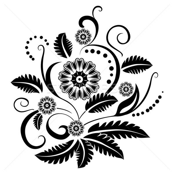 Black and white floral design element Stock photo © lenapix