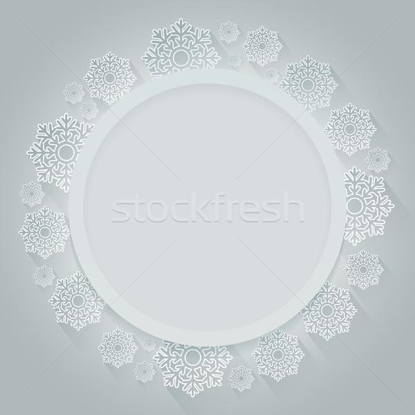 Christmas round frame decorated with white snowflakes Stock photo © lenapix