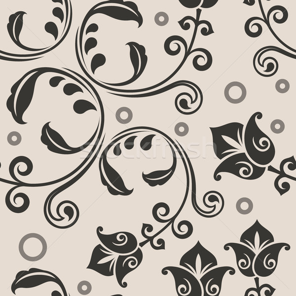 Seamless curly lowers beige vector pattern. Stock photo © lenapix