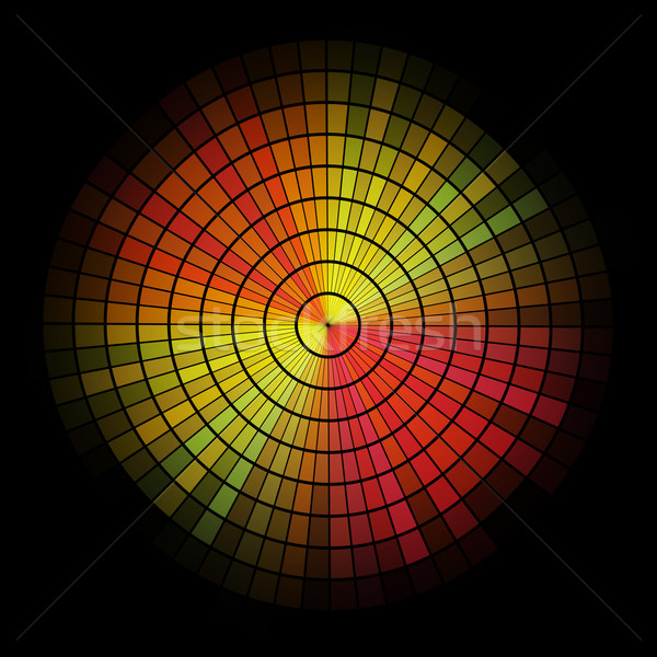 Abstract  radial red and yellow mosaic. Stock photo © lenapix