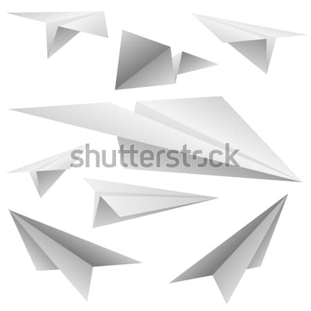 Foto stock: Branco · papel · aviões · isolado · vetor · conjunto