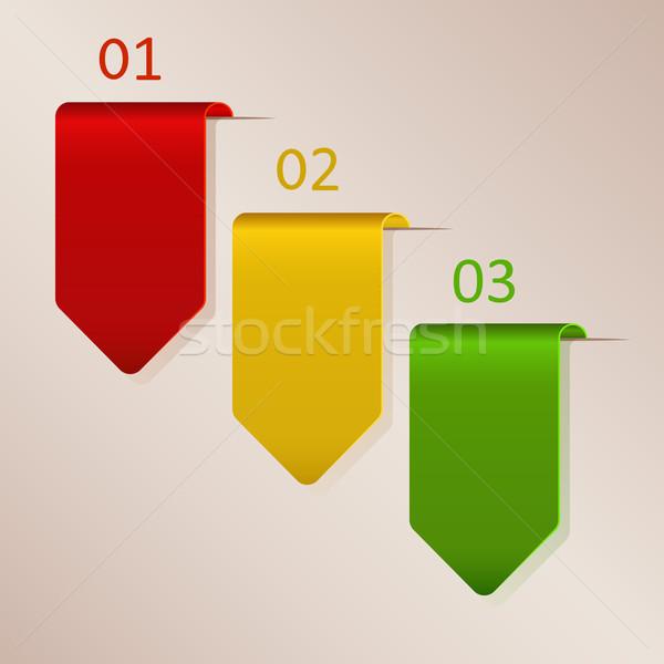 Három papír címkék copy space terv háttér Stock fotó © lenapix
