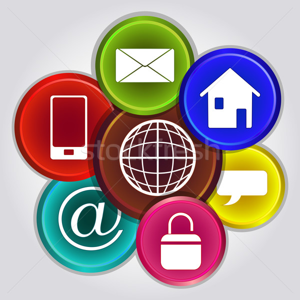Köteg internetes ikonok izolált szürke internet otthon Stock fotó © lenapix
