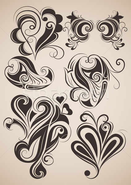 Set of vintage floral design elements vector illustration.  Stock photo © lenapix