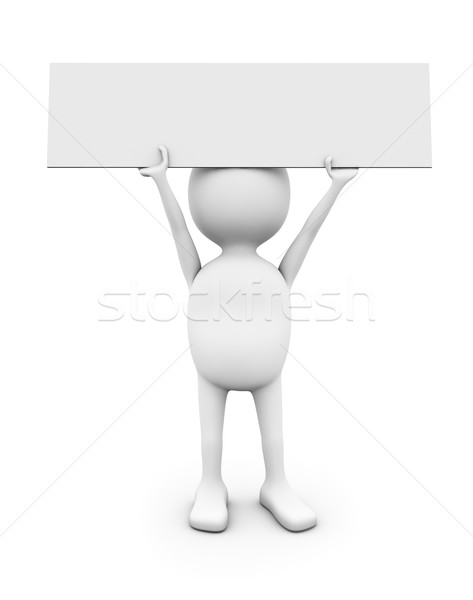3D white man holding blank placard. Stock photo © lenapix