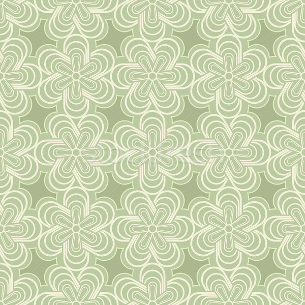 Abstract green spring flower buds vector pattern. Stock photo © lenapix