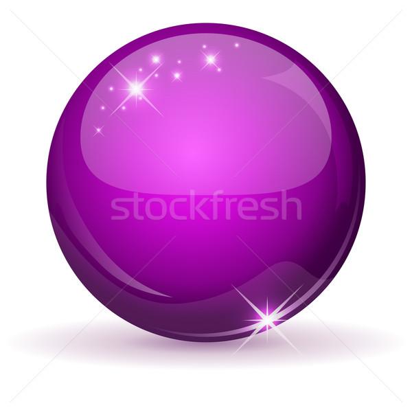 Magenta fényes gömb izolált fehér földgömb Stock fotó © lenapix