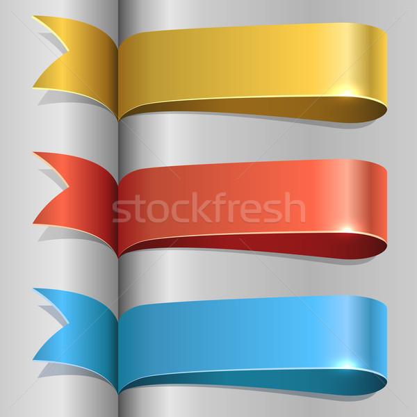 Color ribbon labels vector template. Stock photo © lenapix