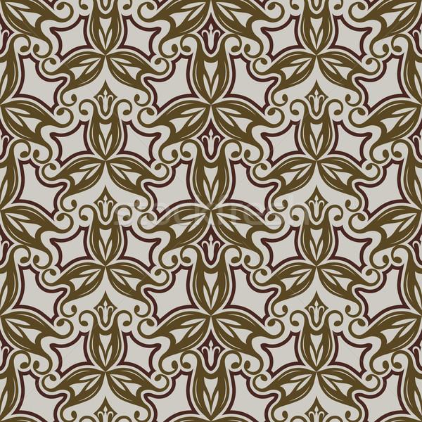бесшовный бежевый коричневый Vintage цветочный вектора Сток-фото © lenapix