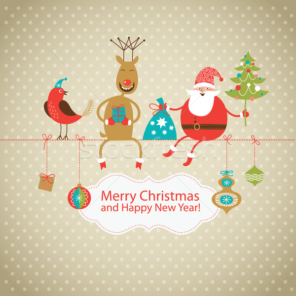 Greeting card, Christmas card with Santa Claus ,deer and little bird  Stock photo © Lenlis
