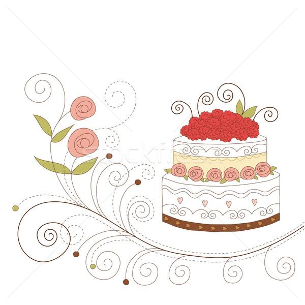 グリーティングカード かわいい ケーキ 結婚式 子供 バラ ストックフォト © Lenlis