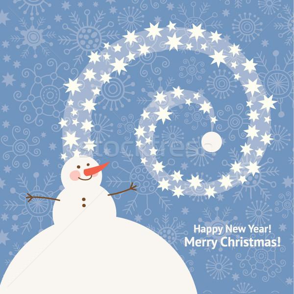かわいい 雪だるま 挨拶 デザイン 雪 ストックフォト © Lenlis