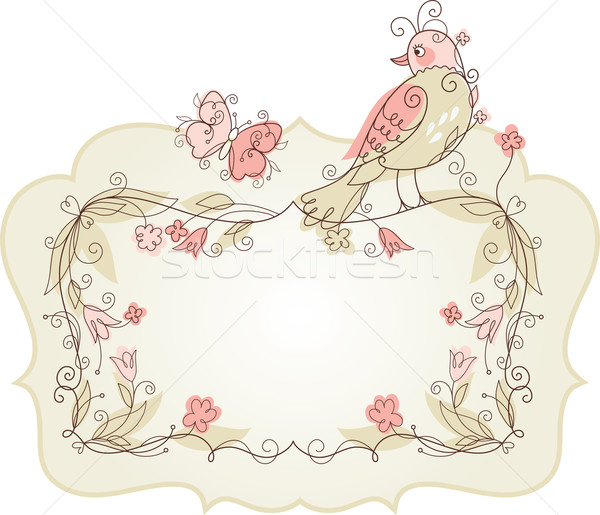 floral frame and bird Stock photo © Lenlis