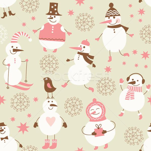シームレス かわいい 雪だるま デザイン 雪 背景 ストックフォト © Lenlis