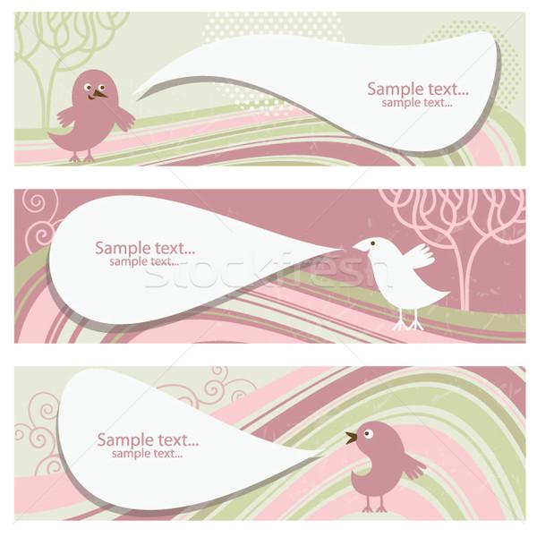 Ingesteld horizontaal banners vogels boom ontwerp Stockfoto © Lenlis