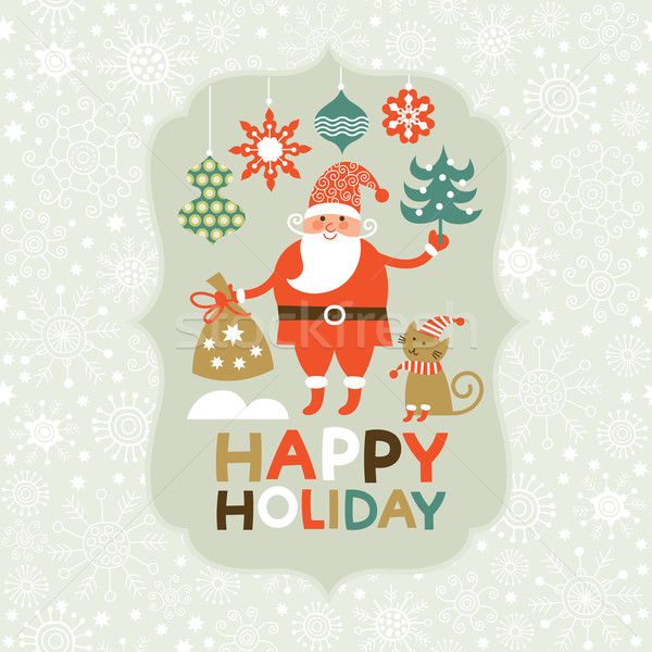 Natal novo anos cartão feliz gato Foto stock © Lenlis
