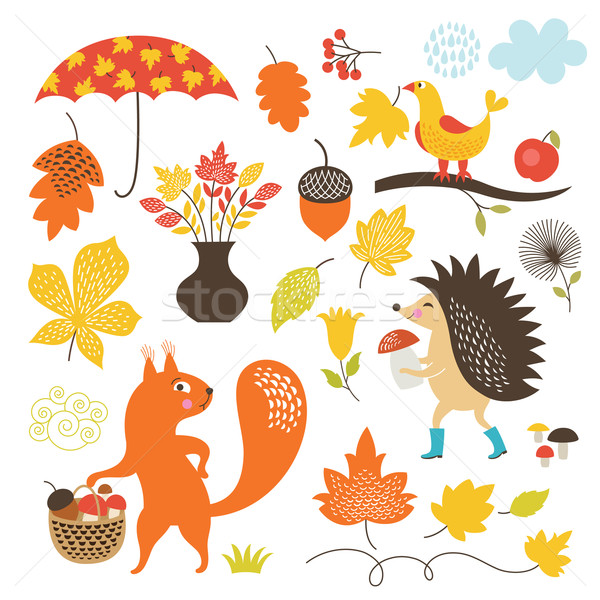 Cartoon animals and autumnal elements, vector set  Stock photo © Lenlis