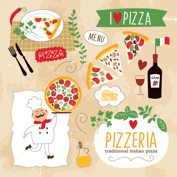 Photo stock: Pizza · illustration · fromages · chef · vintage · cuisson