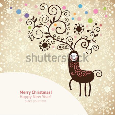 Noel geyik dizayn arka plan çerçeve siluet Stok fotoğraf © Lenlis