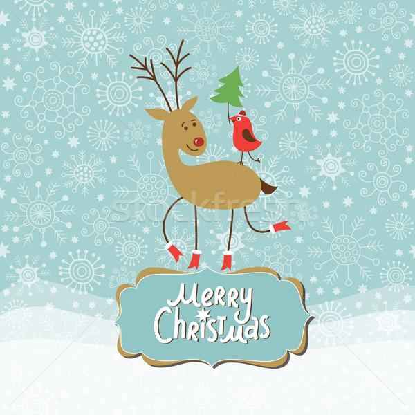 クリスマス グリーティングカード かわいい 鹿 ストックフォト © Lenlis
