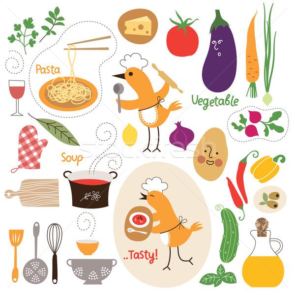 ストックフォト: 健康的な食事 · 食品 · イラスト · コレクション · 健康 · チーズ