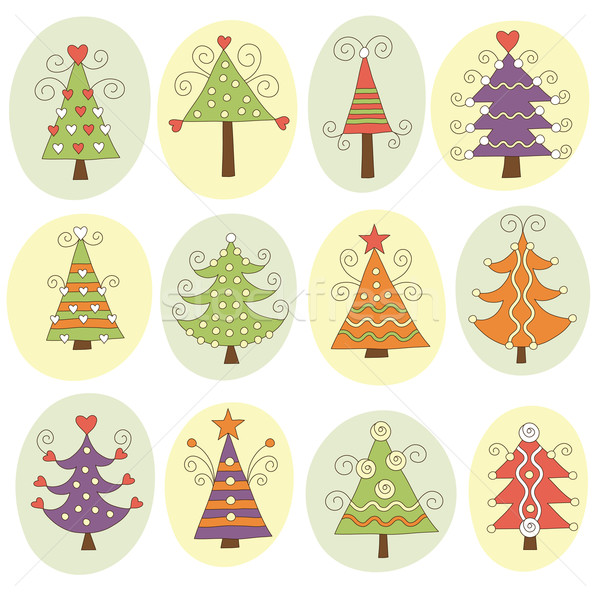 Stock Photo Vector Illustration Cute Christmas Trees