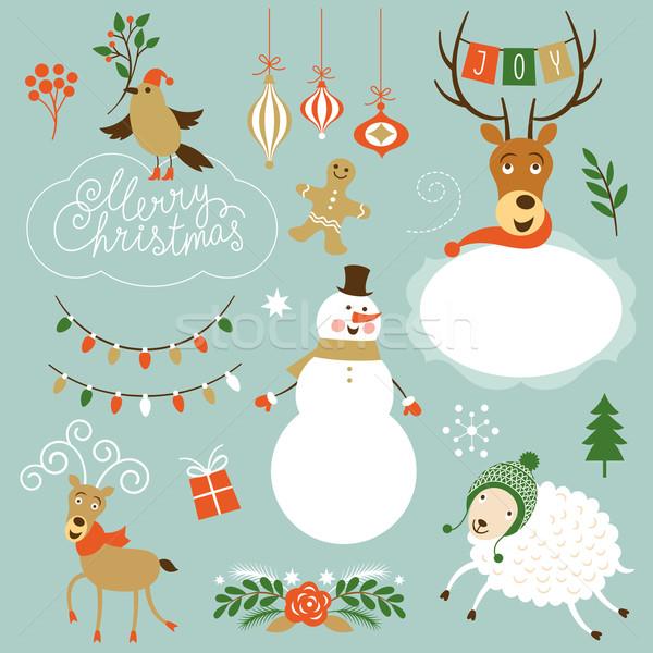 Navidad clip art fiesta feliz fondo aves Foto stock © Lenlis